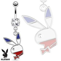 SBJ-0069 Officially Licensed Playboy Red, White, Blue Bunny Dangle Stainless Steel Navel Ring by Jinique -- Awesome products selected by Anna Churchill