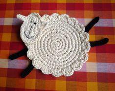 Crochet Pattern - Sheep Pattern - Farmhouse Decor - Lamb Coaster Pattern - Coaster Pattern - Sheep Coaster - Home Decor -  Rustic Decor