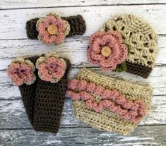 The Sophia Beanie, Headband, Leg Warmers & Diaper Cover Set in Oatmeal, Dusty Pink and Taupe in Newb Baby Girl Crochet, Crochet For Kids, Diy Scarf, Diaper Covers, Crochet For Beginners, Trendy Baby, Crochet Clothes, Leg Warmers, Baby Knitting