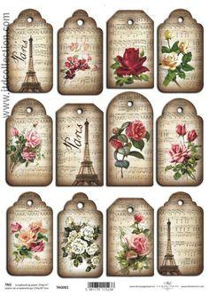 Vintage Style Tags x 12 Scrapbooking Cardmaking Music Roses Paris Eiffel Tower in Crafts, Cardmaking & Scrapbooking, Tags | eBay