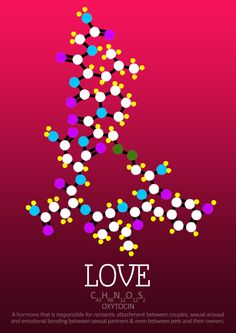 Oxytocin molecule; a represent neurotransmitter (reduces pain). This hormone is naturally released when new mothers are nursing their children and helps them to bond with their baby. It s also released anytime you feel the feeling of love, be it around your parents or significant other. But beware, it may break your heart!
