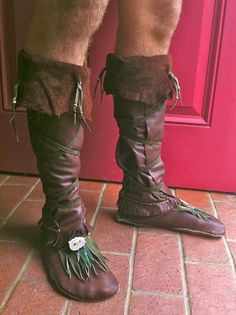 Shaman Moccasin Boots- Custom made with upcycled leather and hand sewn to the shape of your feet.