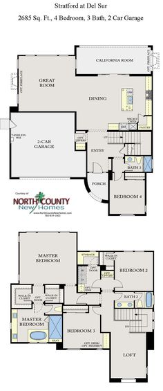 Stratford at Del Sur New Homes Floor Plan 2. Two story new home. New homes in San Diego