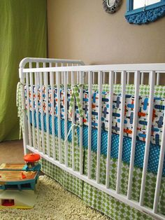 Custom made baby boy bedding or toddler bedding in Organic Airplanes  with bumper set , fitted sheet and crib skirt