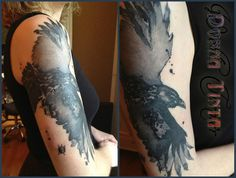 Crow Tattoo I would like a crow holding a cherry tree branch tattoo Bad Tattoos, Great Tattoos, Beautiful Tattoos, Body Art Tattoos, Sleeve Tattoos, Tattoos For Guys, Brush Tattoo, I Tattoo, Black Bird Tattoo