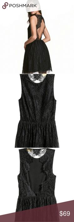 H & M Sleeveless Dress Short, sleeveless dress in lace. Opening at back of neck with button , seam at waist, and gently flared skirt lined with tulle for extra fullness. The fabric is 100% nylon. Handle and care ; machine wash cold. H&M Dresses Midi