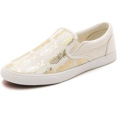 BucketFeet Pineappleade Slip On Sneakers featuring polyvore, women's fashion, shoes, sneakers, leather trainers, leopard print slip-on sneakers, leather slip on sneakers, slip-on sneakers and metallic shoes
