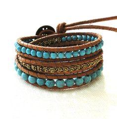 Triple three 3 wraps chan luu inspired leather bracelet bohemian surfer style…