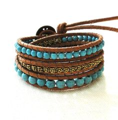 Triple three 3 wraps chan luu inspired leather bracelet bohemian surfer style turquoise beads flower button Buddha and bell charm pendant by ShySu, $44.00
