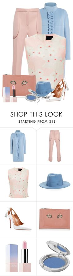 """""""Rose Quartz & Serenity (Outfit Only)"""" by eula-eldridge-tolliver ❤ liked on Polyvore featuring Paule Ka, Simone Rocha, Maison Michel, Aquazzura, Rochas, Sephora Collection and T. LeClerc"""