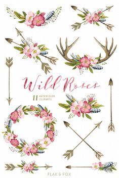 Wild Roses Watercolor Bouquets Wreath Antlers Arrows by flaxandfox