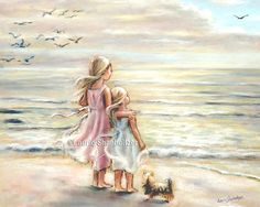 """beach painting, Girls decor, sisters, kids art, sea, pastel, paper and Canvas Art Prints, """"The Ocean's Lullaby"""" Laurie Shanholtzer"""