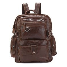 fc04e1b7fd17 Retro Backpack Men And Women Universal LeatherMountaineering Series Casual  Shoulder Bag That a fanatical dreams are in the design of the rough with  the ...