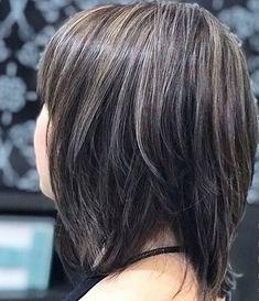 Brown Hair With Silver Highlights, Hair And Nails, Hair Cuts, Makeup, Haircuts, Make Up, Beauty Makeup, Hair Style, Bronzer Makeup