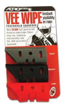 Aerostich's Vee Wipe Squeegees. From a review of 10 pieces of motorcycle rain gear. (Motorcycle Classics May/June 2006)