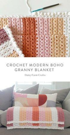 Crochet For Beginners Free Pattern - Crochet Modern Boho Granny Blanket Crochet Afghans, Afghan Crochet Patterns, Crochet Granny, Baby Blanket Crochet, Crochet Baby, Crochet Pillow, Crochet Blankets, Crochet Cushions, Crochet Blocks