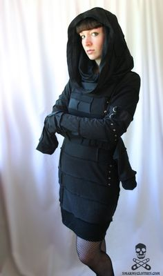 custom REAPER cowl hood cyberpunk zombie dress  by smarmyclothes, $255.00