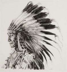 Paul Calle, Sioux Indian Chief Pencil drawing kp