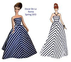Barbie silkstone OOAK gown Oscar De la Renta spring 2013