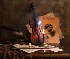 Still life with violin by Andrey Morozov Still Life 2, Still Life Photos, Be Still, Magic Book, Painting Still Life, Still Life Photography, Photography Ideas, Conceptual Art, Gold Paint