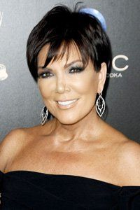 Kim Kardashian's mum, Kris Jenner, adds a feathered fringe to her jet-black crop that's anti-ageing and sophisticated.