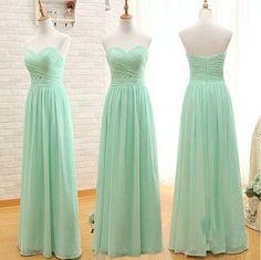 mint bridesmaid dress,long bridesmaid dress,chiffon bridesmaid dress,sweetheart bridesmaid dress,BD1602