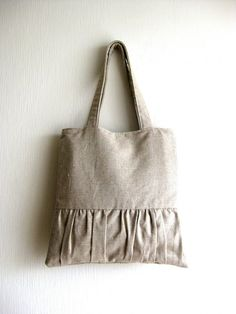 Linen Pleated Tote Bag - Delicada Tote Bag  in Natural Linen. $58.00, via Etsy.
