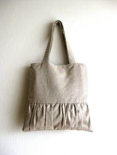 Linen Pleated Tote Bag - Delicada Tote Bag  in Natural Linen. $58.00, via Etsy.