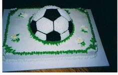 - I made this for a girls soccer team.  All buttercream frosting over chocolate cake.  I put the 3-D ball on top of a single pc of cardboard for support when cutting.