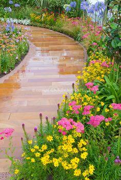 Garden Path for Curb Appeal using Achillea, Coreopsis, Agapanthus, Liatris, etc