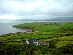 Amazing view of Irish coast while driving around the Ring of Kerry, County Kerry.