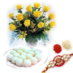 Rakhi Roses with Rasgulla