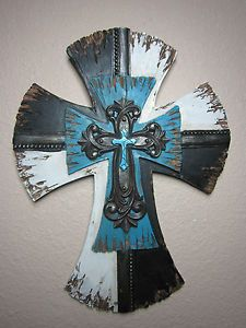 "Western Blue Wood Like Cross 12""X8"" 