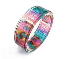 Multicolor Bracelet Resin Bangle Resin Bracelet with Art Graphic (60.00 USD) by sisicata
