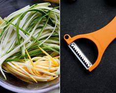Wash vegetables, then dry. Use julienne peeler to form noodle shapes from zucchini, squash, & carrot. Steam the noodles. Once cooked, place noodles in bowl & top with freshly grated Parmesan cheese & some lemon juice. Vegetable Noodles, Zucchini Noodles, Zucchini Squash, Squash Noodles, Veggie Pasta, Kelp Noodles, Pasta Noodles, Vegetable Recipes, Noodles