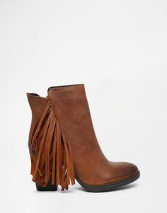953523e2947 Steve Madden Woodstock Fringed Heeled Boots at asos.com