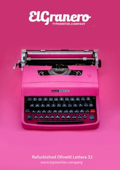 Simply The Best  - Pink Olivetti Lettera 32  - portable manual typewriter - working typewriter -vintage typewriter - pink typewriter