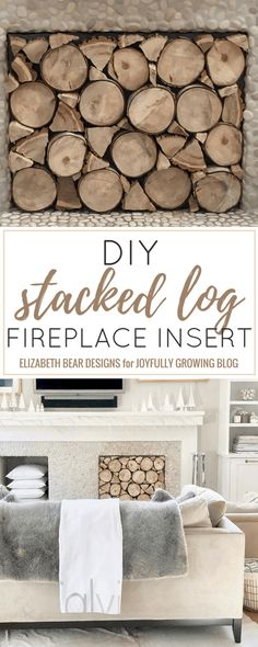 Cover up that black space with this creative DIY project! Simply remove the insert when you want to have a fire. Checkout the full step-by-step tutorial on this DIY Stacked Log Fireplace Insert! Fireplace Cover Up, Faux Fireplace Insert, Wood Fireplace Inserts, Diy Fireplace, Fireplace Design, Fireplace Screens, Handmade Home Decor, Cheap Home Decor, Diy Home Decor