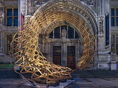 Timber Wave Temporäre Holzskulptur AL_A Amanda Levete Architects