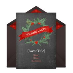Customizable, free Holiday Chalkboard Wreath online invitations. Easy to personalize and send for a Christmas party. #punchbowl