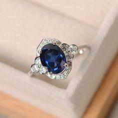 Sapphire ring sterling sivler oval cut anniversary by LuoJewelry Aquamarin Ring, Inspiration Art, Sapphire Jewelry, Sapphire Rings, Art Deco Ring, Ring Verlobung, Designer Engagement Rings, Anniversary Rings, Custom Jewelry
