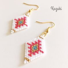 Seed Bead Crafts, Seed Bead Projects, Beading Projects, Beading Tutorials, Loom Bracelet Patterns, Seed Bead Patterns, Beading Patterns, Brick Stitch Earrings, Seed Bead Earrings