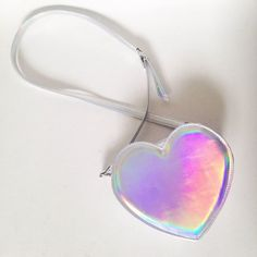 Holographic Heart Faux Leather Crossbody Bag (Ready to ship) (160 RON) ❤ liked on Polyvore featuring bags, handbags, shoulder bags, crossbody shoulder bags, faux leather shoulder bag, holographic handbag, faux leather handbags and heart shaped purse