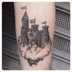 Castle in the clouds Castle Tattoo, Cloud Tattoo, Body Mods, Tattoo Inspiration, Piercings, Tattoo Ideas, Clouds, Ink, Tattoos