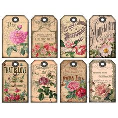 Rose Gift Tags Digital Collage Sheet por CharmedMemoryCollage