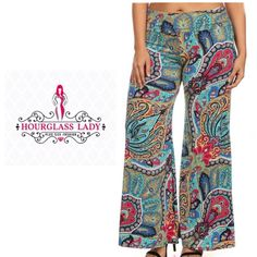 "PLUS 1XBright Paisley Palazzo Pants Gorgeous for the Spring & Summer☀️ PLUS SIZEBright Paisley Palazzo Pants Teal, hot pink, mustard, cobalt, white & black Wear high waisted or fold over New, no tags  Size 1X (labeled XL) fits 12/14 best Waist 16"" across (unstretched), 32"" Inseam 95% polyester, 5% spandex, very stretchy  ‼️PRICE FIRM UNLESS BUNDLED‼️ Create a bundle for 15% off! Thanks for looking✌️❌NO TRADES❌ Hourglass Lady Pants Wide Leg"