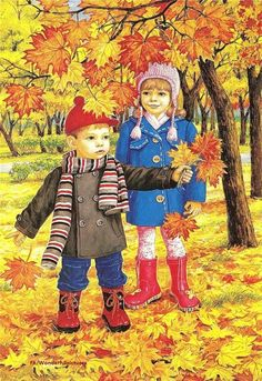 Autumn two brothers and sisters wall art full diamond embroidery new embroidery decoration diy diamond painting cross stitch Autumn Activities, Preschool Activities, Illustrations, Illustration Art, Autumn Scenes, Fall Crafts, Fall Halloween, Childhood Memories, Folk Art