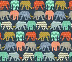 small baby elephants and flamingos sienna fabric by scrummy on Spoonflower - custom fabric
