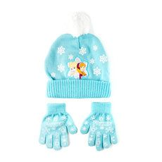 Disney Frozen Elsa and Anna Blue Knit Hat and Gloves Set