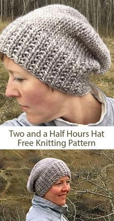 Free knitting pattern for Two and a Half Hours Hat - Slouchy beanie with broken rib brim that designer and Ravelrers say takes just a few hours to knit. Designed by Jennifer Beever. yarn knitting patterns One Day Knitting Projects Designer Knitting Patterns, Knitting Designs, Free Knitted Hat Patterns, Simple Knitting Patterns, Knit Hat Pattern Easy, Easy Knit Hat, Knit Headband Pattern, Shrug Pattern, Crochet Hats